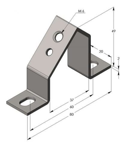 A 10 PIECE BAG OF THE BAB50 ANGLED BRACKET