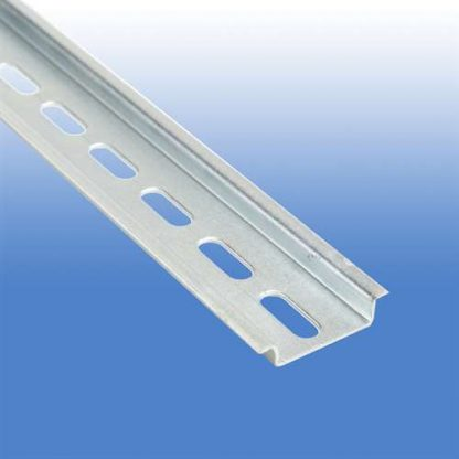 A  Two Meter Piece of Slotted Stainless Steel DIN Rail 35 X 7.5 MM #111.037