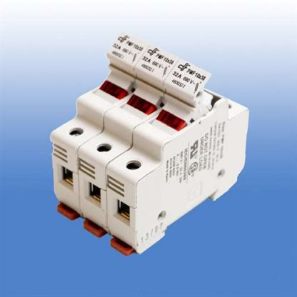 3 POLE FUSE HOLDER FOR CLASS CC FUSES WITH 120V NEON INDICATOR